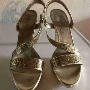 Gold guess heels